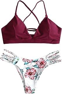 JFAN Donna Bikini Intrecciato con Stampa Floreale a Foglia Costumi da Bagno Costumi da Bagno Perizoma Bikini Spalline Rego...