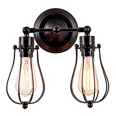 Industrial Wall Sconce Luling Rustic Loft Antique Wall Lights Wire Cage Adjustable Socket Edison Vintage Metal Retro Lamp Fixtures for Bedroom Gazebo (No Bulb) (with 2 Light) (Rust Color) (Rust)