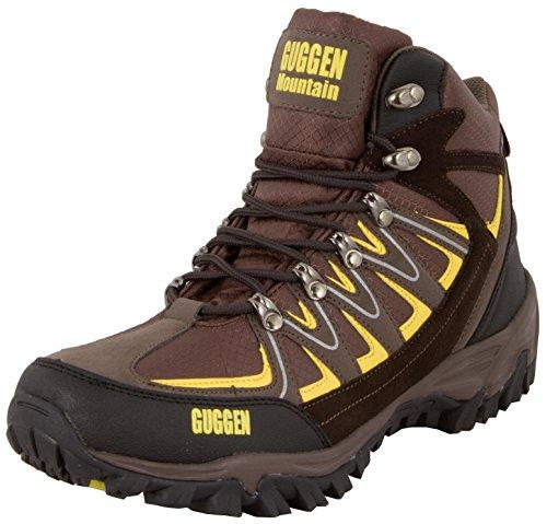 GUGGEN Mountain, Bergschuhe Bergstiefel Wanderschuhe Wanderstiefel Mountain Boots Trekkingschuhe mit echtem Leder, Farbe Braun-Gelb, EU 42