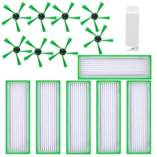 K KUMEED 15 Stück Zubehör Filter Bürste für Vorwerk Kobold VR200 VR300 Saugroboter - Ersatzteile 6 Hepafilter Allergiefilter und 8 Seitenbürste und 1 Stück Kleine Bürste