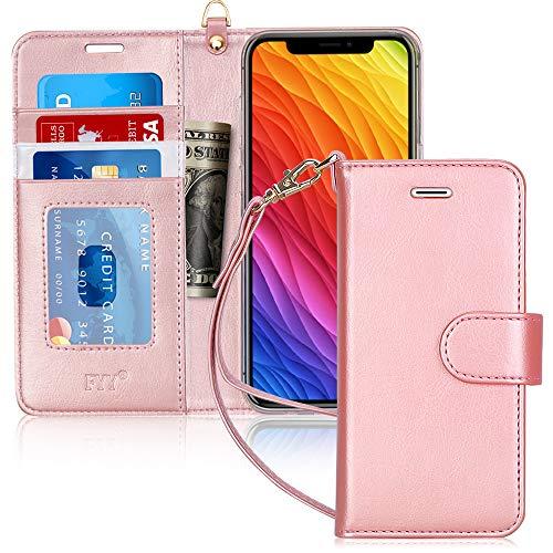 Capa de Celular FYY Para iPhone XR, Couro, PU, Compartimento de Cartão - Rosê