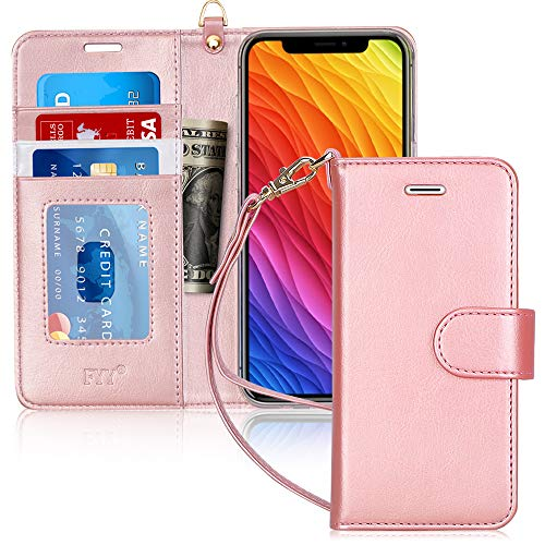 "FYY Luxury PU Leather Wallet Case for iPhone Xr (6.1"") 2018, [Kickstand Feature] Flip Folio Case Cover with [Card Slots] and [Note Pockets] for Apple iPhone Xr (6.1"") 2018 Rose Gold"