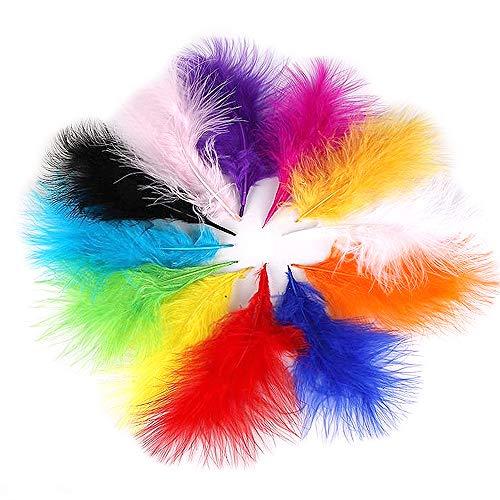 yyuezhi Plumas de Colores para Manualidades Arte de DIY Bodas Plumas De Colores Pluma de Ganso Decoraciones Plumas de Ganso para Pendientes Pluma Natural de Alta Calidad Pluma de Ganso (100 piezas)