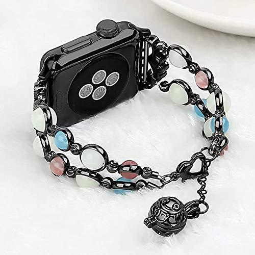 Compatible con la Correa de Apple Watch, para iWatch Series SE 6 5 4 3 2 1 Elástica con Cuentas Noche Perla Luminosa Hermosa Mujer Chica Correa Correa,38mm/40mm
