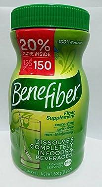 Benefiber 100% Natural Fiber Supplement - 150 Servings 600g 21.2 Oz Sugar Free