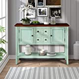 ZSQ Buffet Table, Cambridge Series Sideboard Table with Bottom Shelf, Console Table Dining Room Server, Entry Table Buffet Cabinet Sofa Table (Antique Blue)