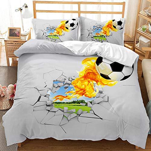 Bedclothes-Blanket Juego sabanas de Cama 150,Dibujo Digital 3D Bosquejo de 3 Piezas Ropa de Cama de 3 Piezas Fútbol-8_200 * 230cm