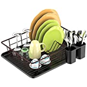 Dish Drying Rack, F-color Dish Rack with Water Tray, Utensil Holder, Anti Rust Dish Drainer for Kitchen Counter Top Dish Rack Wire Holder, Bronze, 16.5 x 12.4 x 4.3 inch
