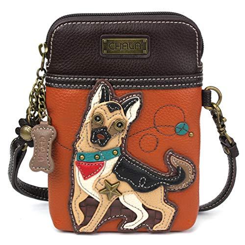 Chala Crossbody Cell Phone Purse - Women PU Leather Multicolor Handbag with Adjustable Strap -German Shepherd Orange