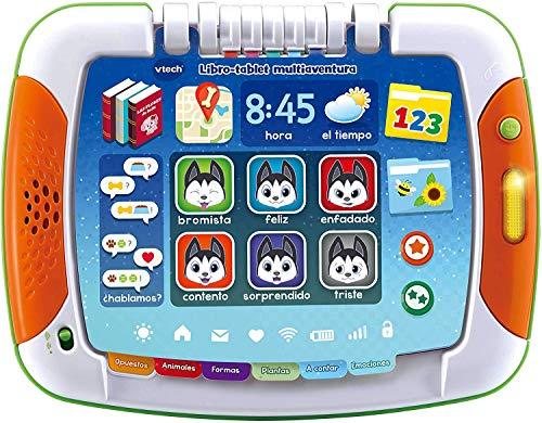 VTech multiaventura, Tablet para niños +2 años, Tablero Interactivo y Libro Tradicional, aprende los Colores, Las Formas geométricas a través de Cuentos y páginas ilustradas (3480-611222)