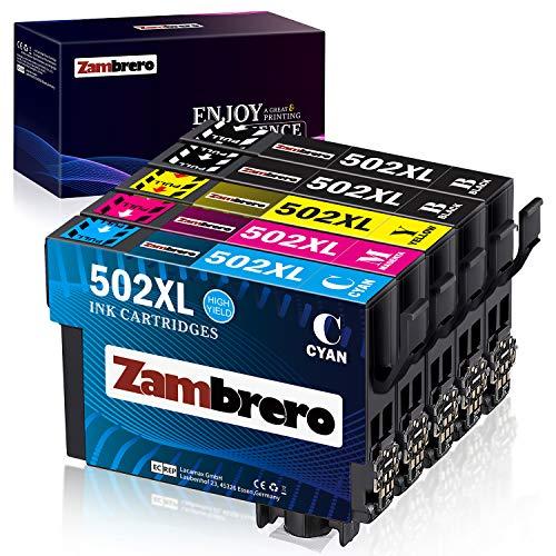 Zambrero 502XL Cartucce Sostituzione per Epson 502 Cartucce d'inchiostro, Compatibile per Epson WF-2860DWF WF-2860 WF2860 WF-2865 WF2865 WF-2865DWF, Epson XP5100 XP-5100 XP-5105 XP5105 XP-5115