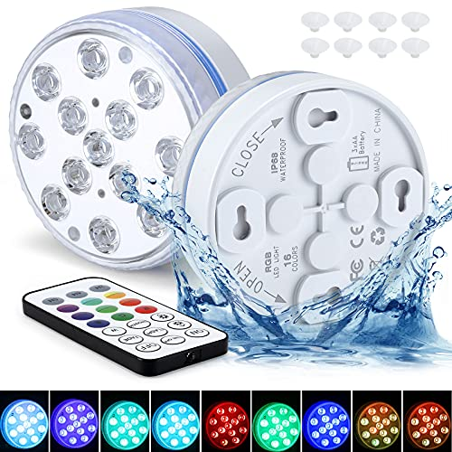 Unterwasser LED Licht GolWof 8.5CM 13 LED Poolbeleuchtung Unterwasser mit RF Fernbedienung RGB Multi Farbwechsel Wasserdichte LED Leuchten Magnetisch für Vase Aquarium Swimmingpool Party (1 Stück)