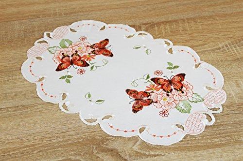 Kamaca Serie Lovely Butterflies bestickte Schmetterlinge und Blumen Filigrane Stickerei Eyecatcher in Frühling Sommer (Tischläufer 30 x 70 cm oval)