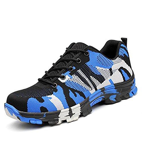 Calzado de Trabajo Hombre Mujer Zapatillas de Seguridad con Puntera de Acero Antideslizante Transpirables Unisex Azul 43