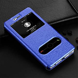 WSDDNTZ Wallet Flip Case For Huawei On Honor 7A 6C Pro 7C 7X 6A 9 10 P Smart P20 P8 P9 P10 Lite Luxury Window View Leather Case Y6 2018 Huawei P8 Lite 2017 Blue