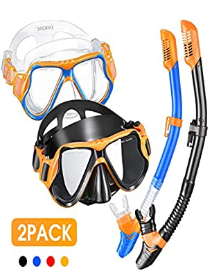 OMORC Snorkel Set for Parent and Child,2 Pack Anti Leak Snorkel Gear,Anti-Fog Impact Resistant Panoramic Tempered Glass Snorkeling Set,Free Breathing&Easy Adjustable Strap Snorkel Set,Package Included
