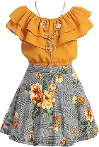 Conjunto de ombliguera con hombros descubiertos y volantes escalonados, y falda floreada para niña, 8, mango