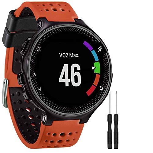 GVangel Bracelet de rechange en silicone souple compatible avec montre connectée Garmin Forerunner 220/230/235/620/630/735XT/235Lite Unisexe, Orange/noir