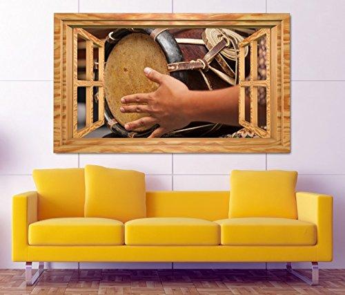 3D Wandtattoo Thai Trommel Musik Kunst Schlagzeug Fenster selbstklebend Wandbild Tattoo Wand Aufkleber 11M1620, Wandbild Größe F:ca. 140cmx82cm