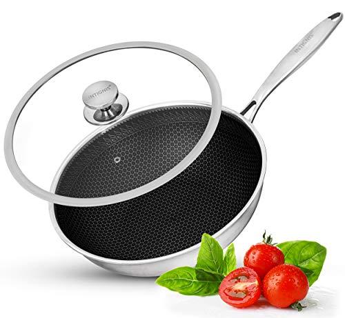 Wok con coperchio per forno – Cucina antigraffio – Home Essentials – per soffriggere, arrostire, grigliare – Grande padella in acciaio inox 30 cm – Tecnologia tedesca Greblon antiaderente Shield