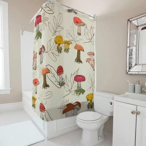 Sweet Luck Pilz Gemüse Duschvorhang Anti-Schimmel Wasserdicht Waschbar Stoff Duschvorhänge Polyester Textil Gardinen mit Ringe für Dusche White 91x180cm