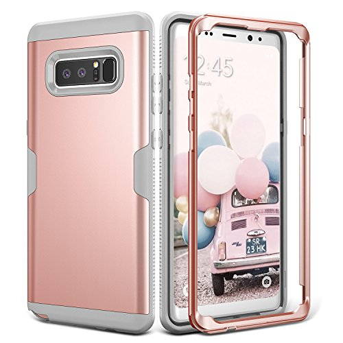 YOUMAKER Galaxy Note 8 Case, Full Body Heavy Duty Protection Shockproof Slim Fit Case Cover for Samsung Galaxy Note 8 (2017 Release) Without Built-in Screen Protector (Rose Gold/Gray)