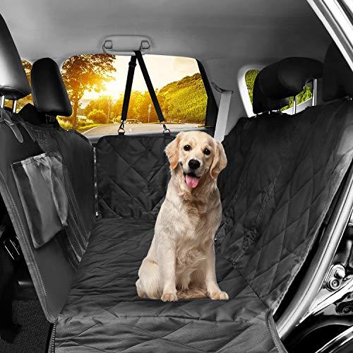 LOETAD Coprisedile per Cani Auto Coprisedile Telo per Cani Auto Copertura Impermeabile Anti-scivolo con Finestrella a Maglie Visibile Tasca Portaoggetti per Sedile Posteriore Auto Universale