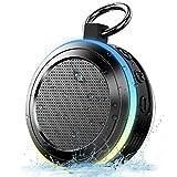 Geryst Altavoz Bluetooth Ducha, Mini Altavoces Portatil Bluetooth 5.0 Extra Bass, IPX7 Impermeable Altavoz Inalámbrico con Mic, Ventosa, Anillo Colgante, luz LED, Radio FM, para Fiesta Piscina