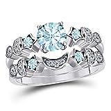 DS Jewels Moon Star Style Wedding Band Bridal Set 1.75 tcw CZ Aquamarine & Cubic Zirconia Round Engagement Ring Set Size 4 to 11