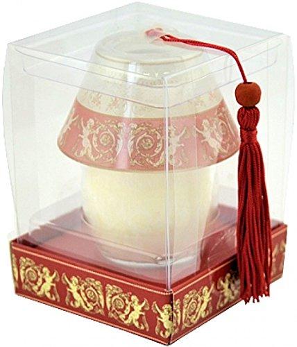 Lampada in vetro con candela, colore: rosso/oro, design: Angelo in confezione regalo. 11 x 8 x 8 cm. Un bel regalo per Natale.