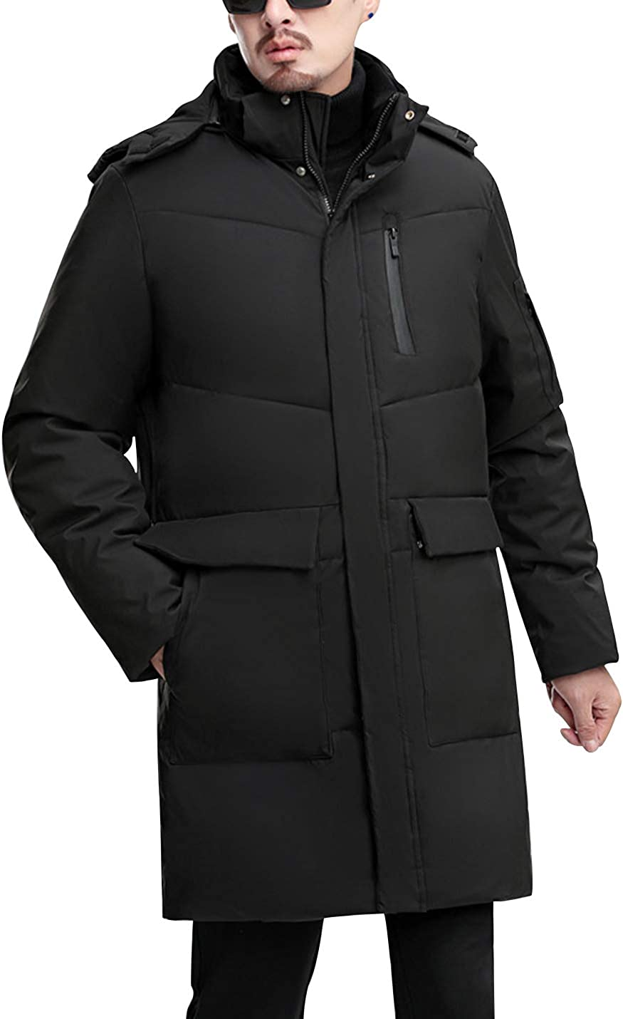 Gihuo Men's Winter Thick Padded Quilted Puffer Jacket Coat with Detachable Hood