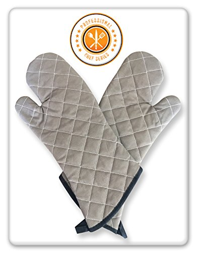LionFinch Oven Mitts Professional Chef Grey. 2 Sets. Extra Long-One Size Fits All. Added Protection from Grease Splatter, Steam Burns. Ideal for Super Hot Ovens, Deep Fried Turkey, BBQ and Fireplace.