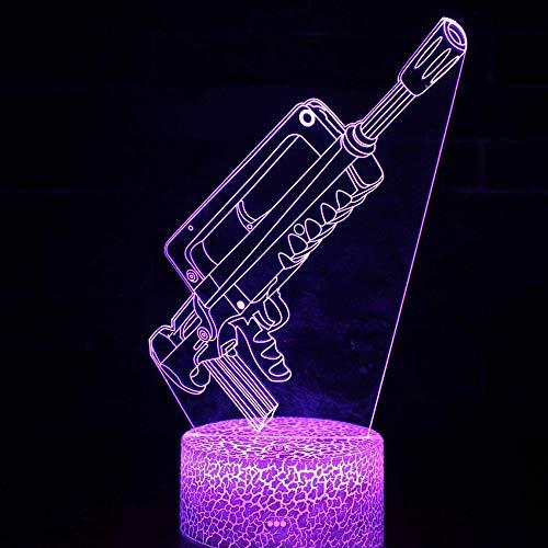 Hermoso rifle armas de fuego base de grietas luz nocturna 3D acrílico USB lámpara de mesa pequeña multicolor