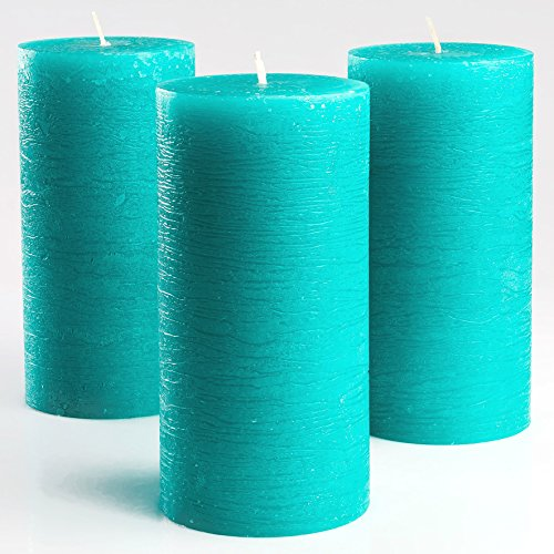Set of 3 Turquoise/Teal Pillar Candles 3 x 6 Inch Unscented Fragrance-Free for Weddings Decoration Restaurant Spa Church Smokeless Cotton Wick
