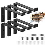 1/4' Thick - Heavy Duty Black Metal Floating Shelf Bracket 12 Inch, Bracket for Shelves, Rustic Farmhouse Iron Decorative L Bracket with Lip Hook, Wall Angel Corner Brace - 6 Pack