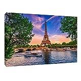 Daams Cuadro Decorativo Urbano Canvas Torre Eiffel Paris Impresión HD Decoración de Interiores Cuadros Modernos para Casa Sala Comedor Recamara Oficina 1.80 x 70 cm
