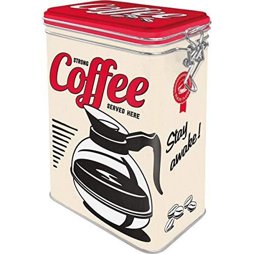 Nostalgic-Art Retro Kaffeedose Strong Coffee Served Here – Geschenk-Idee für Kaffee-Liebhaber, Blech-Dose mit Aromadeckel, Vintage Design, 1,3 l