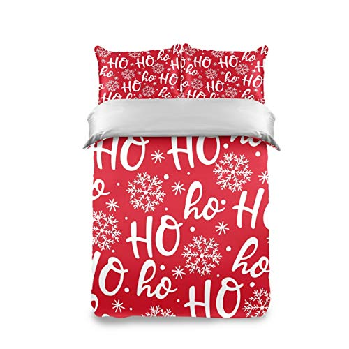 HappyCAT Bedding Set 3 Piece Merry Christmas Snowflake Kids Duvet Cover Set Twin(1 Duvet Cover + 2 Pillow Shams) Comforter Cover for Boys Girls 66x90in 5020608