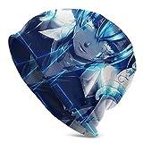 AOOEDM Crying Girl Robot Azul Gris Flores Gorro de uso diario para hombres, cálido, holgado y suave para la cabeza, comodidad durante todo el año, gorros serios para un estilo serio, gorro de punto h