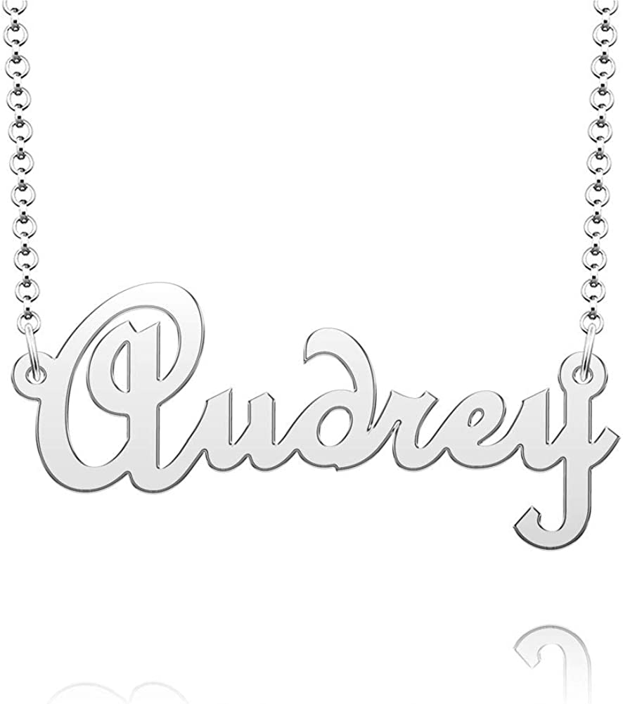 Q&Locket Personalized Custom Name Classic Script Initial Nameplate Necklaces Gifts for Girls Womens