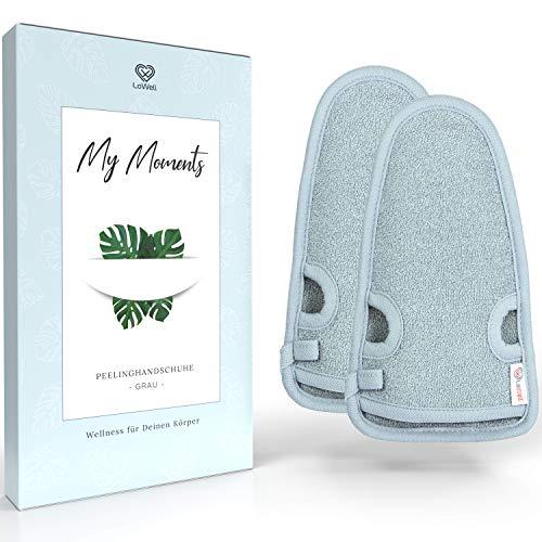 2 Stück - LoWell® - Peelinghandschuh rau inkl. Peeling-Guide + 2 x BONUS Saugnapf - Entspannung für deinen Körper - Wellness Handschuh - Dusch Schwamm Body - Hamam Handschuhe Gesicht (Grau)