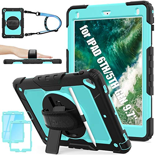 SEYMAC Stock iPad 6th/5th Generation Case, Shockproof [Full-body] Protective Tough Case with [360 Rotating Stand/Hand Strap] Pencil Holder & Screen Protector for New iPad 2017/2018 (Sky Blue+Black)