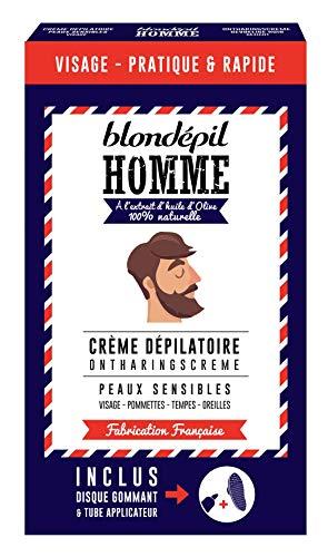 Blondépil Homme Crème Dépilatoire sous la Douche pour Visage/Pommettes/Tempes/Oreilles 20 ml