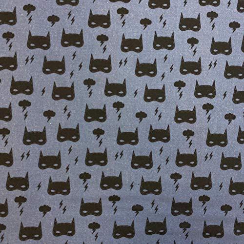Kt Kilotela Tissu Patchwork Impression numérique 100 % coton Coupon de 50 cm de long x 140 cm de large Batman Gris bleu 0,50 m