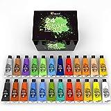 Zenacolor Kit di 24 Colori Acrilici, 24 Tubetti da 120 ml, 24 Colori Tempere per Dipingere...