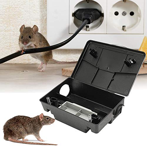 LIJUMN Professional Wall Hanging Mouse Trap with Lock, Baiter Rat & Mouse Bait Station - Holds Traps for Mouse Natural Durable