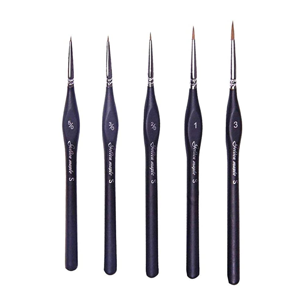 Detail Paint Brush Set- 5 Sizes with Triangular Handle for Detailing & Art Painting - Acrylic, Watercolor, Oil,Gouache,Miniatures, Models,Nails.