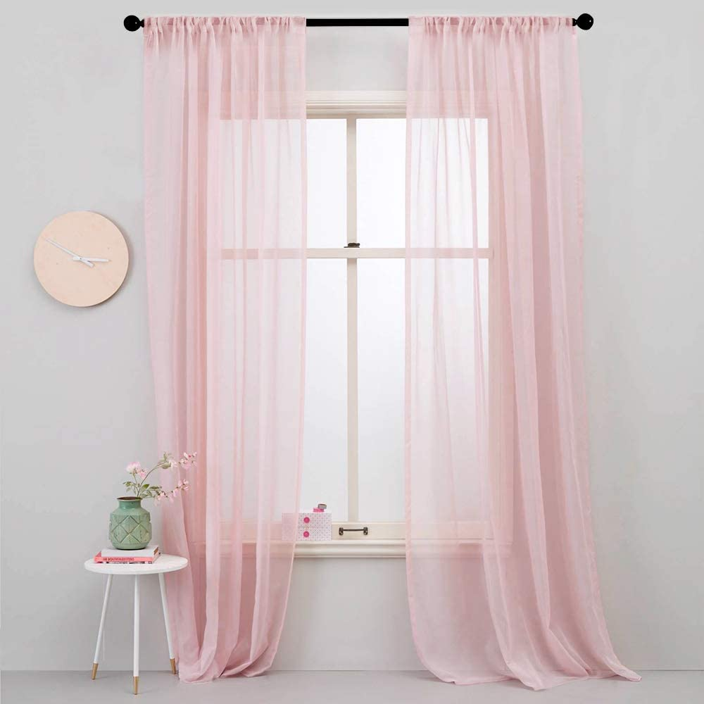 MRTREES Sheer Curtains Girls Room Pink 84 inches Long Sheers Nursery Transparent Voile Curtain Panel Bedroom Rod Pocket Window Treatment Set 2 Panels Living Room Sliding Glass Door