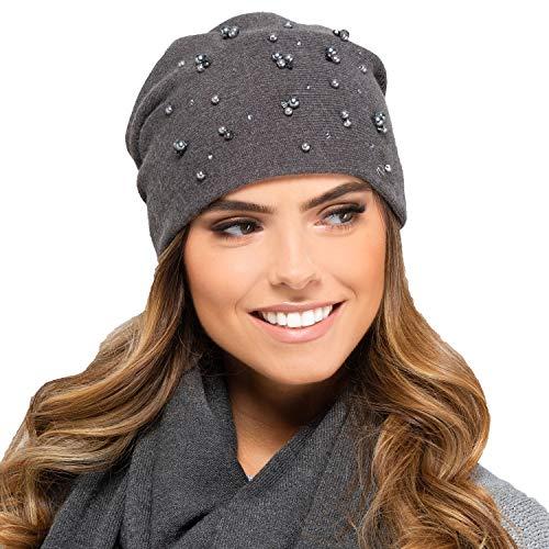 Kamea Damen Mütze Kopfbedeckung Herbst Winter Terrassa, Dunkelgrau,Uni