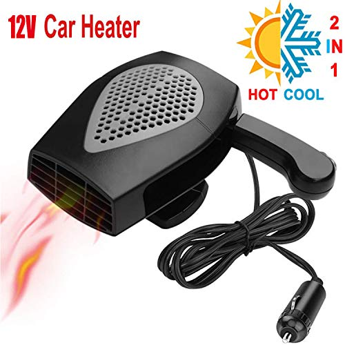Tengcong Portable Car Heater, 2019 Upgrade Fast Heating Quickly Defrost Defogger Demister Vehicle Heat Cooling Fan Auto Windshield Ceramic Heater Plug in Cigarette Lighter, 12V 150W (Gray)